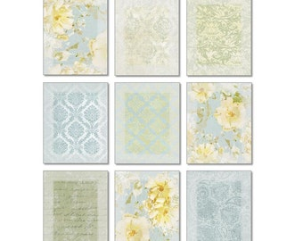 Light Blue and Yellow Wall Art Set of 9 Prints • Gallery Wall Art Arrangement