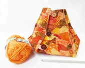 yarn bowl knitting bowl yarn keeper in orange yellow brown autumn fall  leaf colours gift for knitter or crocheter