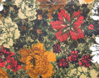 "fabric /  vintage floral / red orange rust / 46"" x 72"""