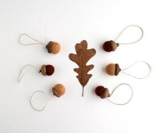 Set of 6 Felt Acorn Ornaments - Christmas Ornaments