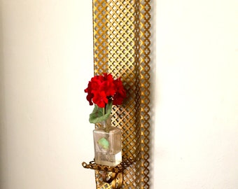 MId-Century Gold Metal Mesh Wall Scone