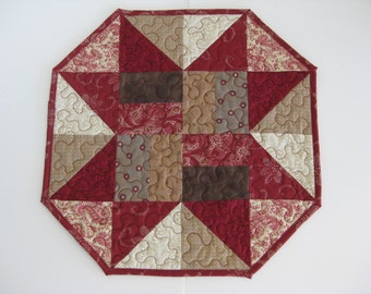 Red Quilted Table Topper, Quilted Table Runner