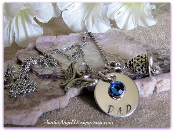 Stamped Angel Sympathy Jewelry, Angel Gets Its Wings, Stamped Angel Memorials, Angel in Heaven, Family Member in Heaven, Angel Wing Jewelry