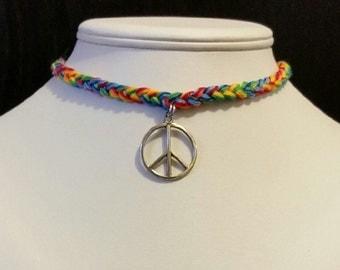 Hippie Peace Sign Choker