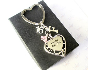 Personalized 16th Birthday keychain - Personalised 16th keychain - Happy Birthday gift - Sister - Friend - Uk