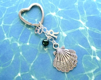 60th birthday keyring - Clam shell keychain - Personalised 60th keychain - Shell keyring - 60th gift - Initial keyring - Gift for girls - UK