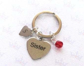 Personalised sister keyring - Birthstone keychain - Gift for sister - Sister keychain - Custom Initial keychain - Stocking filler - Etsy UK