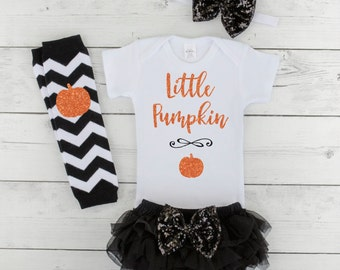 First Halloween Outfit Girl Baby Girl Halloween Costume Little Pumpkin 1st Halloween Girl My First Halloween Costume Baby Girl H048S