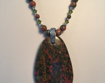 Unakite gemstone necklace