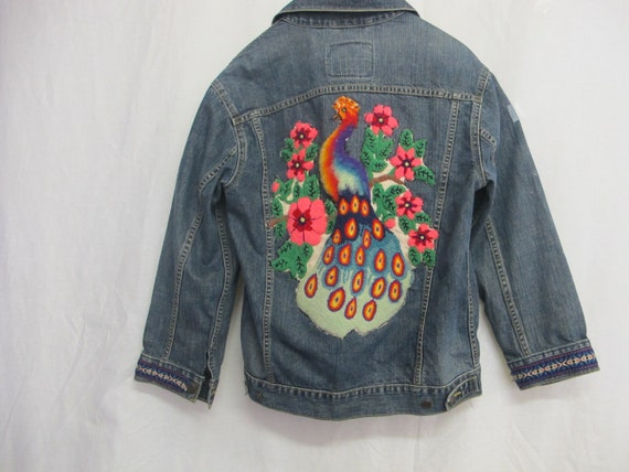 Levi jacket denim embroidered distressed vintage