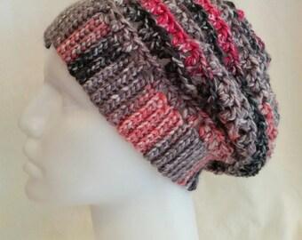 Women's Crochet Slouch Hat- Pink & Gray