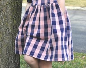 Swing Dress, Dusty Rose and Navy gingham knit Everyday Swing Dress, Buffalo Plaid, Made to Order, by The Little Spoons