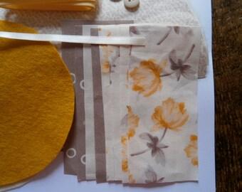 Sew it Yourself Needlecase Kit/Craft Kit/Sewing/Christmas Gift. Golden Yellow