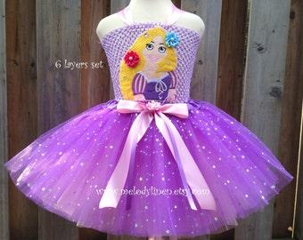 Rapunzel tutu dress set Rapunzel hair clips Rapunzel birthday dress Rapunzel birthday outfit purple tutu Rapunzel costume