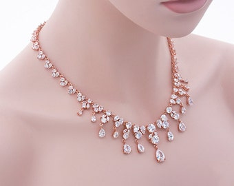 Analia - Rose Gold Bridal Jewelry Set, Necklace And Earrings Set, CZ Wedding Necklace, Bridal Jewelry, Cubic Zirconia Crystal Necklace