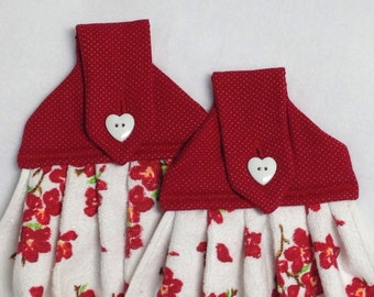 Red Flowered Hanging Kitchen Towels
