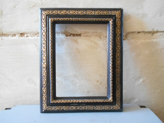 Antique Wood Frame Black And Gold Decor. French Home Decor