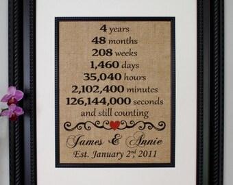 Fourth Anniversary Burlap, Fourth Year Married, 4th Anniversary, Any Year, Burlap Print, Burlap Sign, Personalized Anniversary