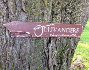 Ollivanders Distressed Wooden Directional Sign - Made to Order