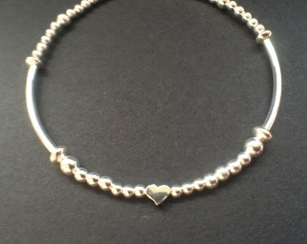 Sterling Silver Beaded Ball Heart Charm Bracelet Bangle Designer Inspired Jewellery Contemporary Jewelry