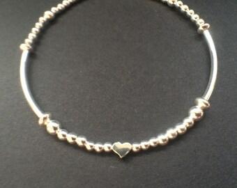 Sterling Silver Ball Heart Charm Bracelet Bangle, 925 Silver Noodle Bracelet, Beaded Bracelet, Jewelry Gift, Gift for Wife, Gift for Friend