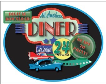 All American Diner Cake Topper Printable 8X10 Oval Drive-in Sign with Black Background Retro 1950s Neon Style Sign Car 24 Hours Curb Service