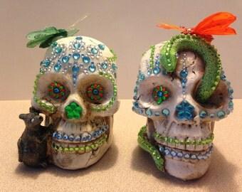 Sugar Skull wedding cake toppers Bride Groom Dia De Los Muertos Day of the Dead