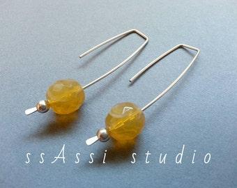Argentium Sterling Silver & pale orange Czech glass bead earrings