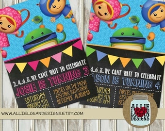 Team Umizoomi Invitations - Girl or Boy Colors - Featuring Geo, Milli, and Bot - Printed or Digital!
