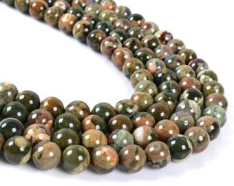 """8MM051 Rainforest Rhyolite Jasper round ball loose gemstone beads 16"""""""