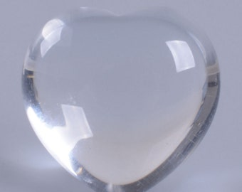 "g3888 x2 2pcs of 21mm White clear quartz puff LOVE hearts Crystal healing Reiki pocket stone 0.8"""