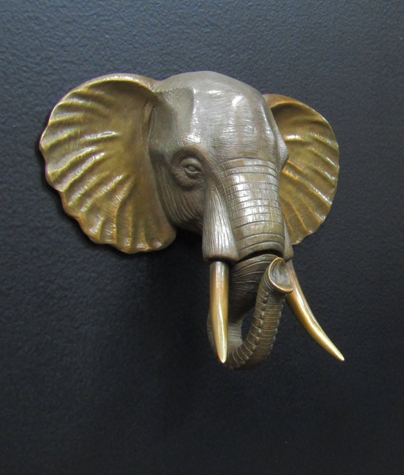 Bronze elephant head door knocker with custom patina - Brass elephant door knocker ...