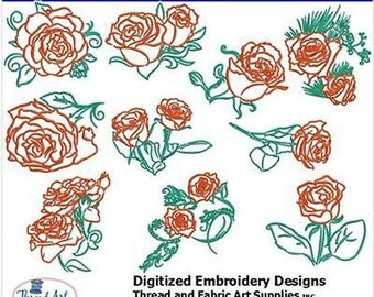 Embroidery Design CD - Roses (2) - 10 Designs - 9 Formats - Threadart
