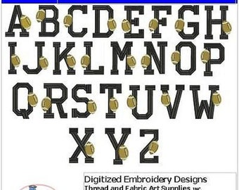 Embroidery Design CD - Football Alphabet(1) - 26 Designs - 9 Formats - Threadart