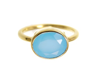 Blue Chalcedony Ring - Calcedony Ring - Gold Ring - Oval Ring - Gemstone Ring - Stackable Ring - Bridesmaid ring