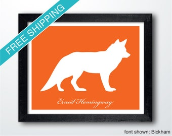 Personalized Fox Silhouette Print with Custom Message - fox art, fox print