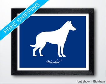Personalized Smooth Collie Silhouette Print with Custom Name