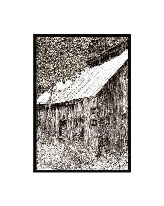 Haines Falls Sap House, Pen and Ink Print