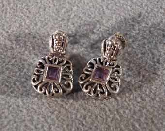 Vintage Sterling Silver Genuine Amethyst Splendid Post Style Dangling Earrings, A Magnificent Design **RL