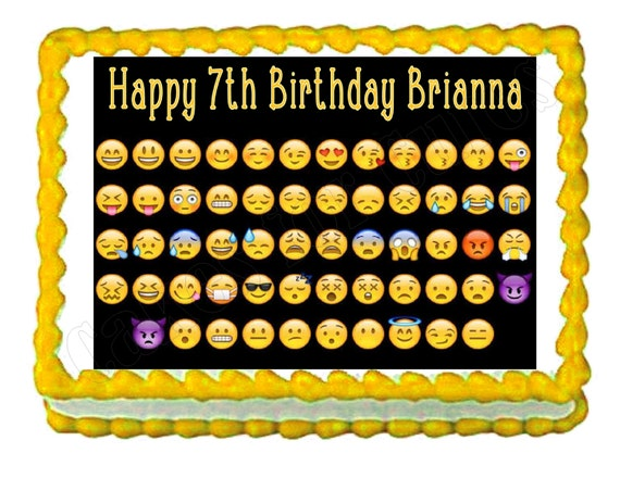Emoji Birthday Cake Toppers Personalized