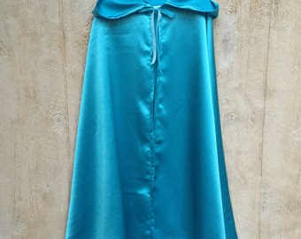 READY to SHIP in Children's 6 or 8! Cinderella Inspired Cloak - Light Blue Satin Long Cape - Princess Costume