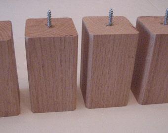 "Oak Bun Feet Furniture Legs 2 1/2"" x 2 1/2"" x 4 1/2"""