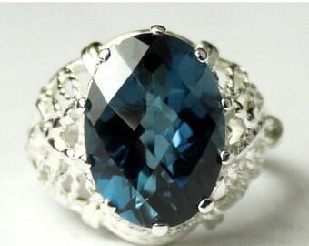 Summer Sale, 30% Off, SR260, 7 ct London Blue Topaz, 925 Sterling Silver Ring