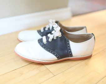 vintage navy blue & white  leather saddle shoes oxfords loafers mens 11