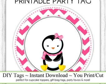 Christmas Printable Tags, Penguin Xmas Tags, Christmas DIY Party Tags, You Print, You Cut, INSTANT DOWNLOAD