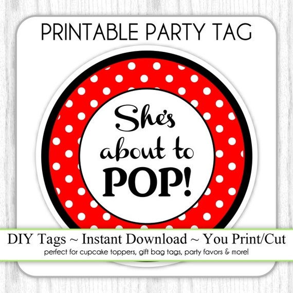 She S About To Pop Baby Shower Printable Black And Red