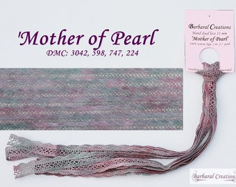 Hand dyed 2.2 yard 11 mm wide cotton lace, dentelle - 'Mother of Pearl'