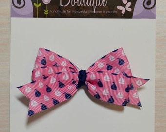 Boutique Style Hair Bow - Sailboats and Anchors
