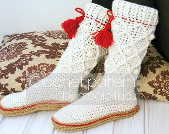 Crochet pattern: women boots with rope soles,soles included,socks,slippers,all women sizes,rustic,adult,teen,home,footwear,cables,girl,cord