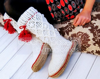 Crochet pattern: women boots with rope soles,women socks,slippers,boots,all women sizes,rustic,soles pattern included,adult sizes,cord,twine